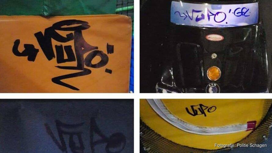 Politie Schagen pakt 'weinig getalenteerd graffiti-ettertje' op