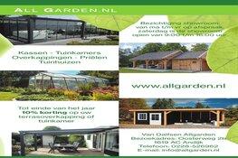 Tot einde van het jaar 10% korting op uw terrasoverkapping of tuinkamer bij All Garden