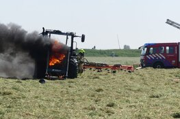 Tractor in brand in Schagen