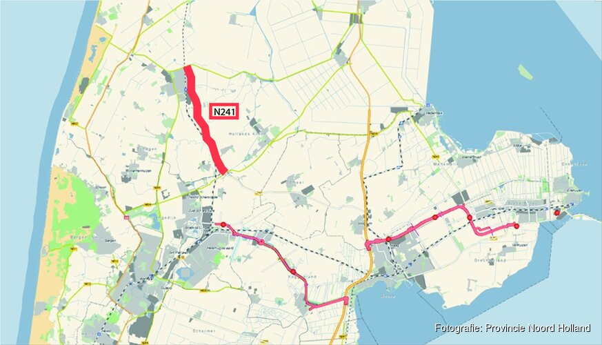 Plaatsen bewegwijzering langs Provincialeweg (N241) tussen Schagen en Verlaat