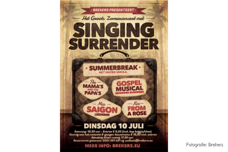 Concert met Singing Surrender bij Brekers